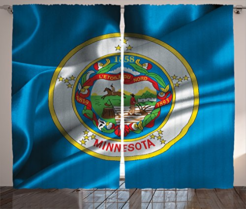 Lunarable American Curtains, Minnesota Flag Flying Wreath of Lady Slipper the State Flower State History, Living Room Bedroom Window Drapes 2 Panel Set, 108 W X 96 L Inches, Blue Multicolor