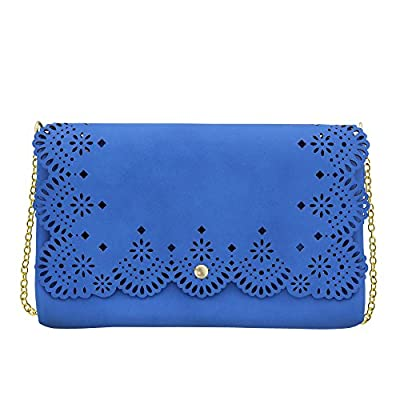 MoDA-Sophisticated Stenciled Perforated Cut Out Fashion Clutch with Attachable Chain Strap