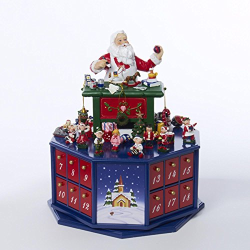 12'' Wooden Santa Workshop Wind-Up Musical Advent Calendar with Accessories by KSA (Image #1)