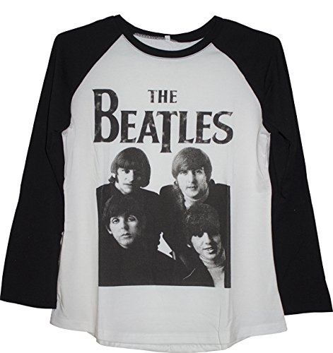 Darceil Women's Long Sleeve Black and White Block Beatles Print T Shirt (S, White) (Tshirt Womens The Beatles)