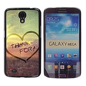 TopCaseStore / la caja del caucho duro de la cubierta de protección de la piel - Love Thank For - Samsung Galaxy Mega 6.3 I9200 SGH-i527