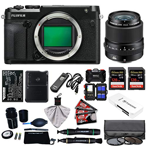 Fujifilm GFX 50R Medium Format Digital Camera Body with 45mm f|2.8 R WR Lens + 128GB Cards + Battery + Charger + Filters + Kit
