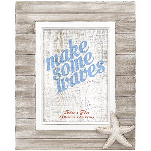 Malden International Designs Rustic Routed Wooden Starfish Attachment Picture Frame, 5x7, Brown