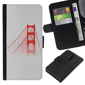 All Phone Most Case / Oferta Especial Cáscara Funda de cuero Monedero Cubierta de proteccion Caso / Wallet Case for LG G3 // San Fransisco Bridge Red Usa Mist Fog Nature
