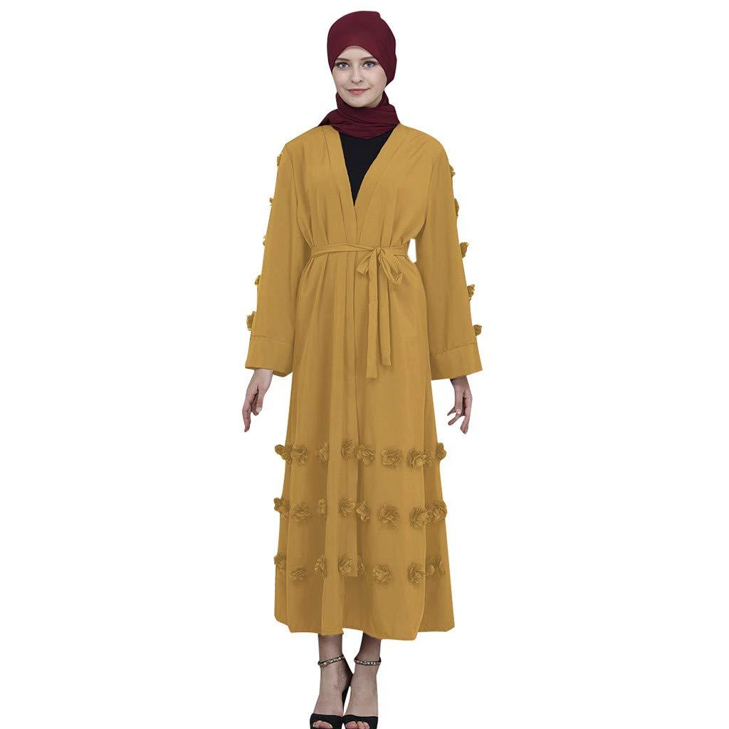 ZOMUSAR 2019 Muslim Maxi Dress Trumpet Sleeve Abaya Long Skirt Robe Gowns Tunic Belt Yellow by ZOMUSAR