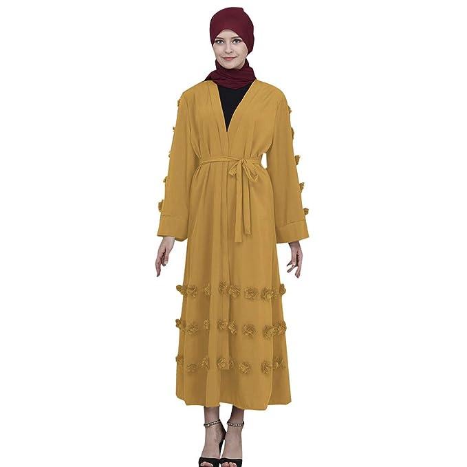 Vestido Maxi musulmán Manga de Trompeta Abaya Falda Larga Batas Vestidos Cinturón túnica Flor mullida Toga: Amazon.es: Ropa y accesorios