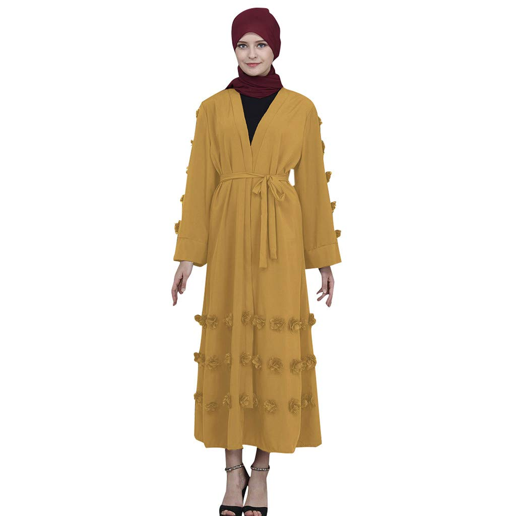 ZOMUSAR 2019 Muslim Maxi Dress Trumpet Sleeve Abaya Long Skirt Robe Gowns Tunic Belt Yellow