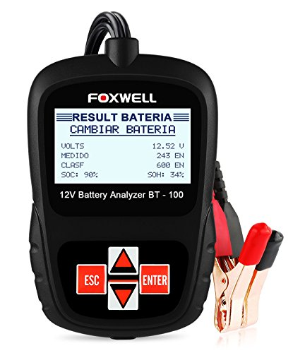 FOXWELL BT100 12V Battery Load Tester 100-1100 Cold Cranking Amps Auto Battery Tester Analyzer Directly Detect Bad Cell Battery Check Battery Health (Bt100 Capacity Battery Tester)