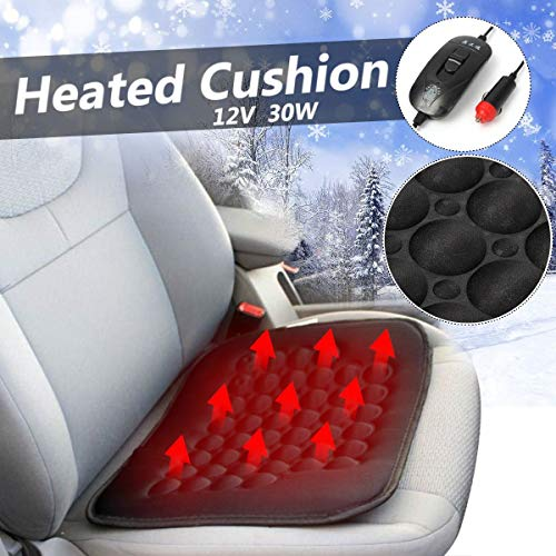 Transport-Accessories - 12V 30W Universal Electric Car Front Seat Heated Cushion Thermal Pad Warmer Cover Temperature Control Winter