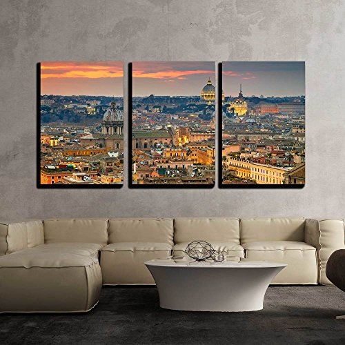wall26 – 3 Piece Canvas Wall Art – Wonderful View of Rome at Sunset Time with St Peter Cathedral – Modern Home Decor Stretched and Framed Ready to Hang – 16 x24 x3 Panels