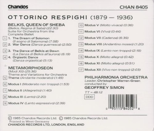 Respighi: Belkis, Queen of Sheba (Orchestral Suite) / Metamorphoseon (Theme & Variations)