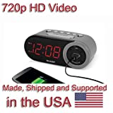 SecureGuard HD 720p Alarm Clock Radio Spy Camera Covert Hidden Nanny Camera Spy Gadget
