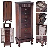 Jewelry Cabinet with Mirror Jewellery Box Organizer Wooden Jewelry Storage Armoire Hanging 7 Drawers Large Capacity