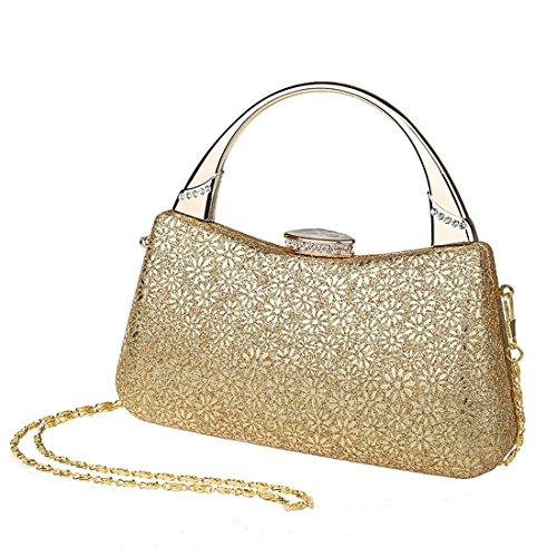 KAXIDY Damen Handtasche Clutch Damentasche Schneeflocke-Muster Tasche Abend Handtasche Abendtasche (Gold) Gold M5dq1YgD2