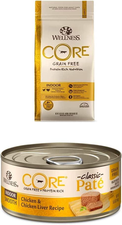 Wellness CORE Grain-Free Indoor Formula Dry Cat Food, 2 Pound Bag + Wet Canned Cat Food, Indoor Recipe, 5.5-Ounce Can (Pack of 24), 7910