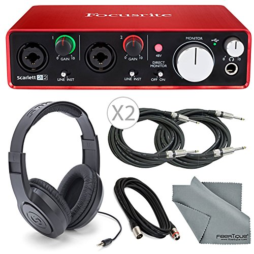 Focusrite Scarlett 2i2 (2nd Gen) USB Audio Interface W/ Cables + Samson Headphone and FiberTique Cleaning Cloth by Focusrite