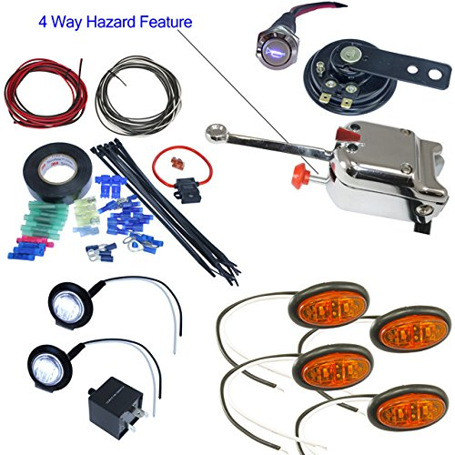 UTV Heavy Duty Lever Switch Turn Signal Kit with Horn and Hardware (Without License Plate LED, Oval LED Lights)