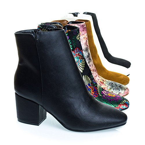 Shoe Block Ankle Pu Womens Black Booties Heel Floral Oriental Velvet Printed 02 nXwHq478