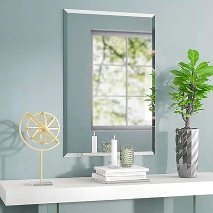 Specchio Bagno Con Cornice Argento.Mx Home Specchio Da Parete Senza Cornice Rettangolare Con Bordi