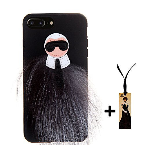 Apple iPhone 7+ Case, Soft TPU Back Skins, Plush Faux Fur Bugs, Black and Gray Color, Stylish Design, Easy to Take On and Off, For Girls Women