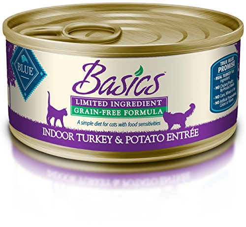 Blue Basics Limited Ingredient Diet Adult Indoor Grain Free Turkey & Potato Wet Cat Food 5.5-Oz (Pack Of 24)