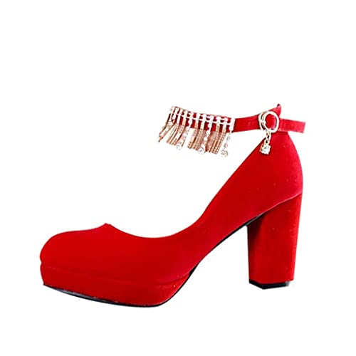 978e0e67ac Scarpe da Sposa - Scarpe da Sposa Rosso Tacchi Alti con Pizzo Spessore  nelle Scarpe da
