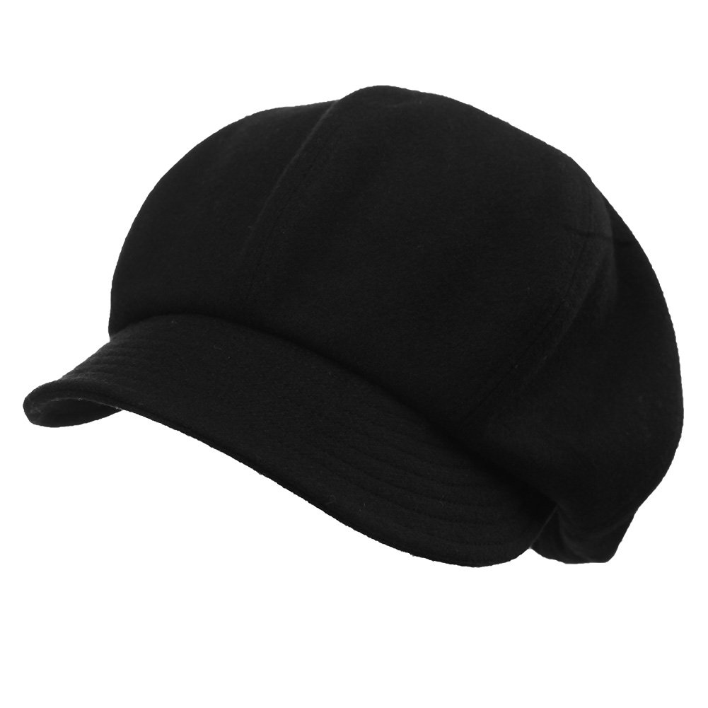 Jeff & Aimy Womens Newsboy Cap 50% Wool Winter Hat Ladies Beret Hat with Visor Cloche Hats Lined Black by Jeff & Aimy