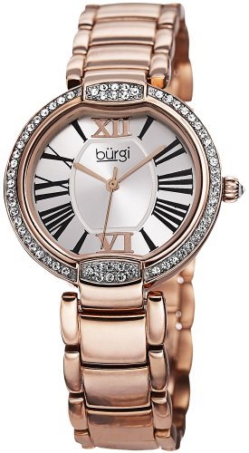 Burgi Women's BUR101RG Crystal Rose-tone Stainless Steel Bracelet Watch