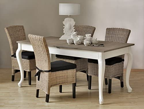 Mesa de comedor extensible de roble estilo rústico, 90 x 180 x 260 ...