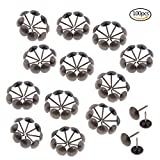 JiaUfmi 100 Pcs Upholstery Tacks 11 by 17 mm Antique Brass Tacks Bronze Nail Pins Furniture Thumb Tack Pins