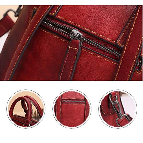 Sac couleur Pour Messager Taille en Femme Cuir 0 22 Marron Seau Vintage Cm 13 De Cm Vachette Cm 20 Rouge Fq4rFp