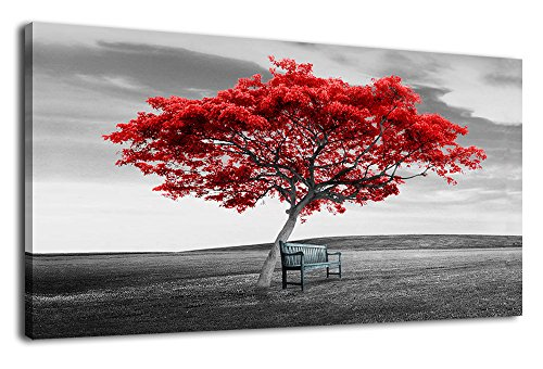 Canvas Art Panoramic Nature Picture Red Tree with Chair on Grass Wall Decor Large Modern Artwork Landscape Canvas Prints Contemporary Painting Framed Ready to Hang