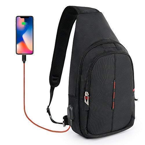 (CrossGear Small Sling Backpack with USB Charging Port Waterproof Pouch Chest Shoulder Mini Bag Phone Holder Running Belt For Workout Vacation Hiking CR-8001)