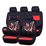 CAR PASS 11PCS Insparation Universal Car Seat Covers Set ,Airbag Compaitable (Black With Red)