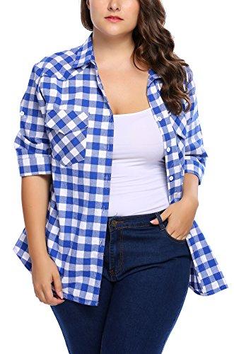 IN'VOLAND Involand Women Plus Size Summer Roll Up Sleeve Boyfriend Plaid Button Down ()