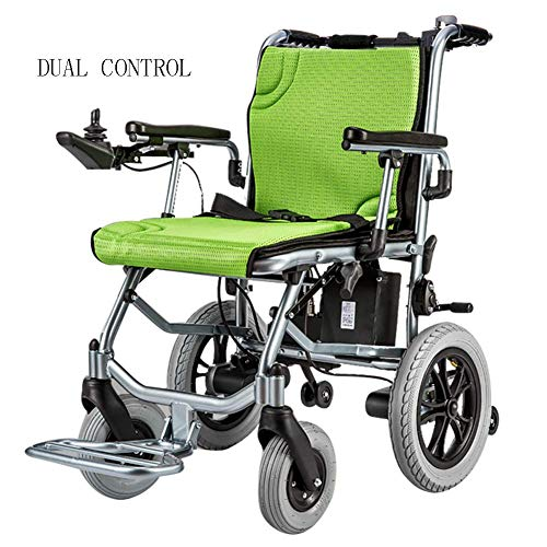 RZBB Electric Wheelchair - Ultra-Light Lithium Battery Folding Portable Smart Elderly Disabled Electric Wheelchair 14Kg, Dual Control