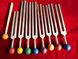Chakra Tuning Fork Set of 8 Unweighted Healing with Color Removable Balls Includes Soul Purpose