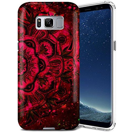 Galaxy S8 Case, ZUSLAB Mandala Design, Slim Shockproof Flexible TPU, Soft Rubber Silicone Skin Cover for Samsung Galaxy S8 (Bloody Red Mandala)