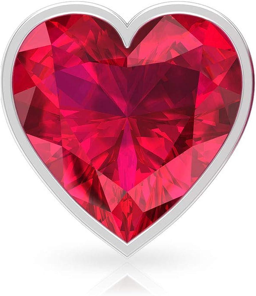Pendientes de cristal de rubí con certificado IDCL de 3 quilates, con forma de corazón, solitario, con piedras preciosas, boda, novia, declaración, oro, fiesta, tornillo hacia atrás