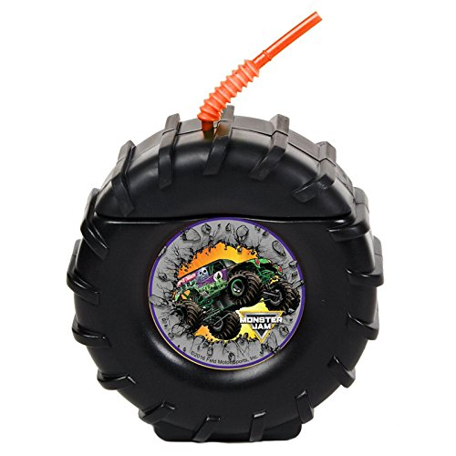 Monster Jam Childrens Birthday Party Supplies - Truck Tire Plastic Sippy Cup with Straw (16) - Grave Digger Birthday