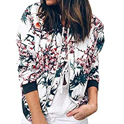 Iybuia Autumn Womens Ladies Retro Print Floral Zipper Up Bomber Jacket Casual Coat Outwear Blue S