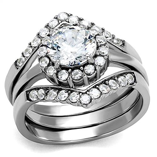 Vip Jewelry Co 2.25 Ct Round Cut CZ Silver Stainless Steel Engagement & Wedding Ring Set Womens Size 5-10