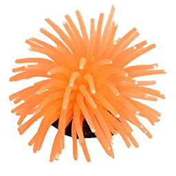 Uxcell Soft Silicone Fish Tank Decoration Simulation Coral, White Orange