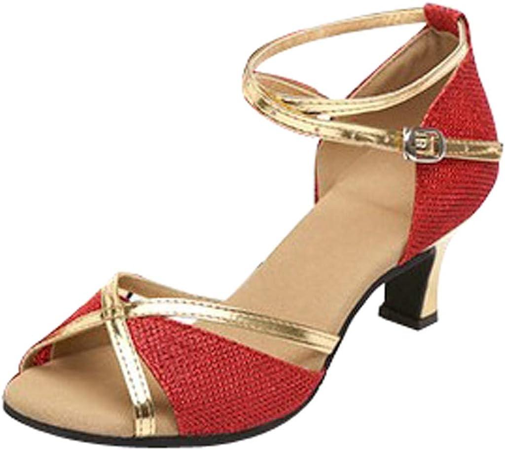 Zapatos de Baile Latino Mujer Salsa Lentejuelas Zapatos de Baile Latino Mujer Salsa Tacon Bajo 5 Cm Salón de Baile para Mujeres Zapatos de Tango Social Sandalias con Punta Abierta para Mujer