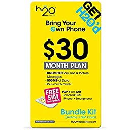 H2O Micro / Mini SIM Card for any Unlocked GSM Phone w/ $30 Airtime
