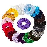 Ondder 20 Pack Velvet Scrunchies Hair Bobble Elastics Hair Scrunchy Hair Bands Headbands Women Scrunchies Bobbles Hair Ties, 20 Assorted Colors