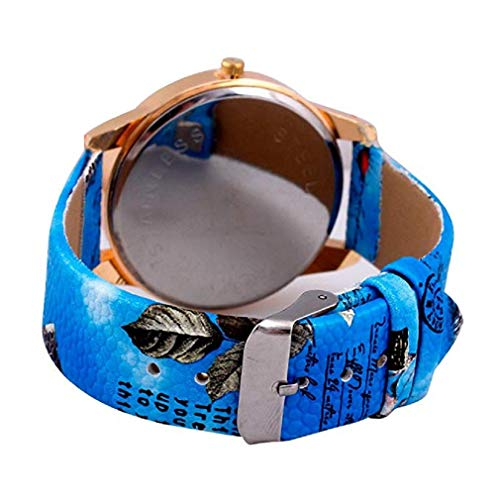 Fashion Clearance Watch! Noopvan Womens Flower Watches,Unique Analog Lady Watches Female Watches on Sale Casual Wrist Watches for Women,Round Dial Case Comfortable PU Leather Watch-H42 (Blue) by Noopvan Watch (Image #3)