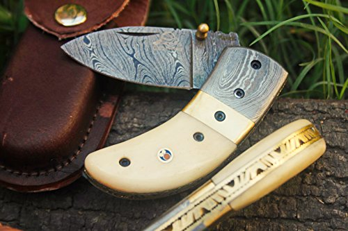 """DKC Knives (20 5/18) SALE DKC-43 WHITE THUMB Damascus Steel Folding Pocket Knife 3.5"""" Folded 6.25"""" Long 2.25"""" Blade 7.25 oz High Class Looks Incredible Feels Great In Your Hand And Pocket Hand Made"""