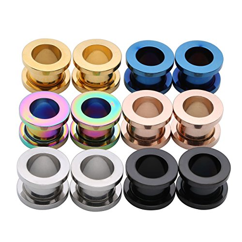 PiercingJ 12pcs 12G-3/4(2MM-20MM) Stainless Steel Screw Flesh Tunnels Plug Ear Expanders Stretchers