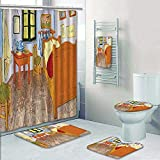 5 Piece Banded Shower Curtain Set Van Gogh Rustic Van Gogh Work Oil ReproductionFabric Home Accessories Pattern Printing Suit